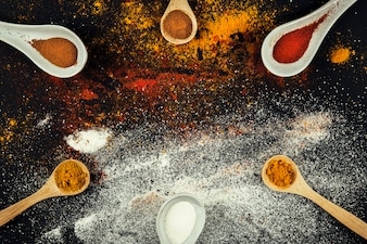 Oriental spices on six spoons
