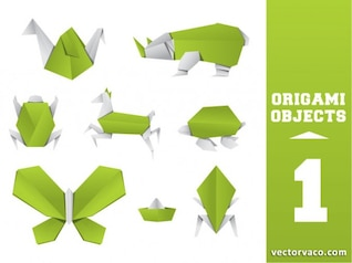 Origami animal vector pack