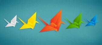 Origami birds in five colors