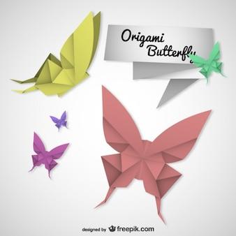 Origami butterflies vector