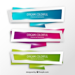 Origami colorful banners