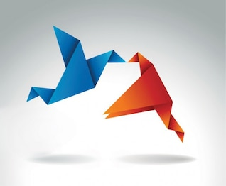 Origami Kissing Blue & Orange Bird