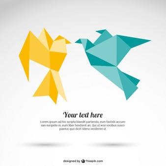 Origami paper birds vector