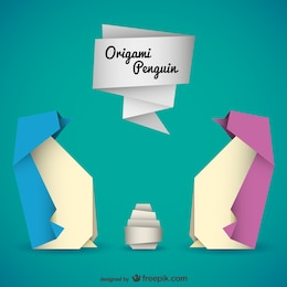 Origami penguins vector