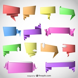 Origami speech bubbles vector template set