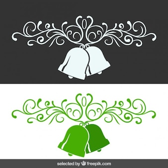 Ornamental Christmas banner with bells