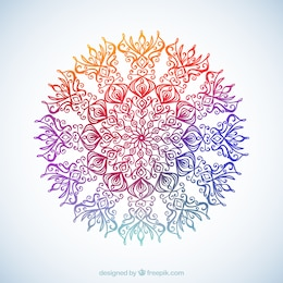 Ornamental flower in colorful style