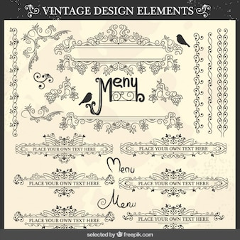 Ornamental menu elements