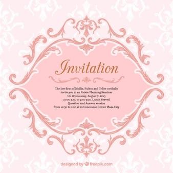 Ornamental pink invitation
