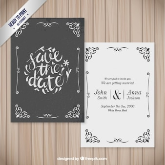 Ornamental wedding card in retro style
