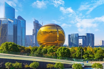 Outdoor panorama city shanghai path