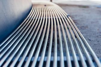 屋外ステンレス鋼の金属製のベンチ