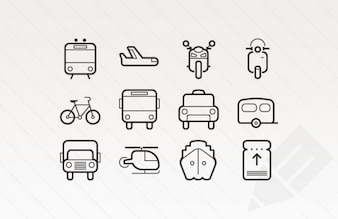 Outlined stroke icons for transportation