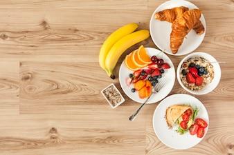 Overhead view of healthy breakfast ingredients