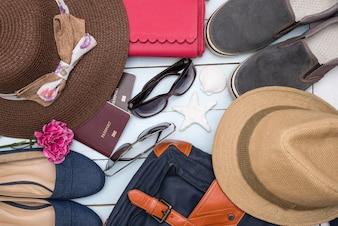 Overhead view of traveler accessories