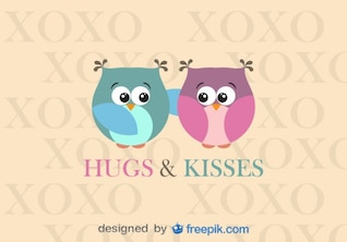 Owls Hugging Valentine's Day Card Design