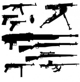 Pack of armament vector silhouettes