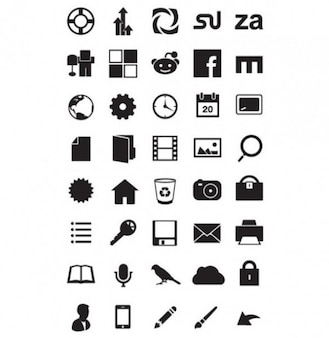 Pack of black and white minimal icons