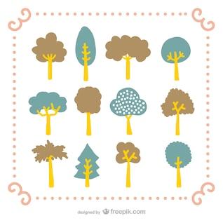 Pack of cartoon trees
