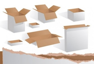 Packaging boxes isolated on white