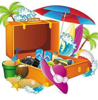 Packing for a tropical vacation illustration