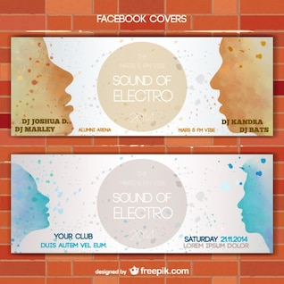 Painted faces silhouettes vector banner set