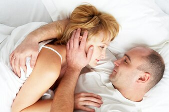 Pair man intimate embracing relations