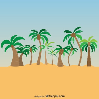 Palm trees exotic landscape