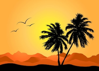 Palm trees in a summer landscape