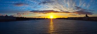 Panoramic view of Neva river in dawn