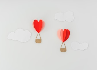 Paper cut of Heart Hot air balloons for Valentine's Day celebrat