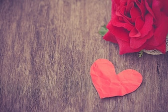 Paper heart with rose