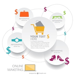 Paper style shopping infographic