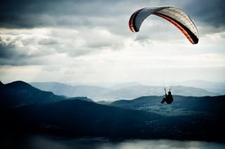Paraglider in sky  active
