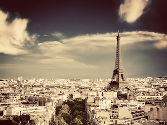 Paris city view from high