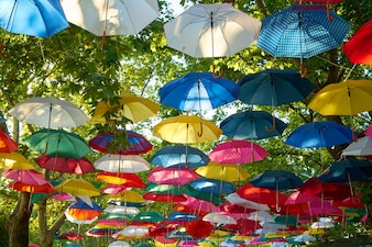 Park with colorful umbrellas