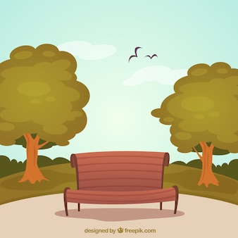 Park with wooden bench