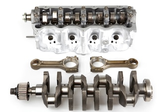 Parts of a disassembled engine