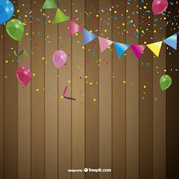 Party background with garlands and balloons