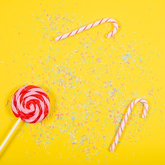 Party composition with candy canes and lollipop