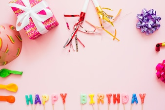 Party decor and Happy Birthday words