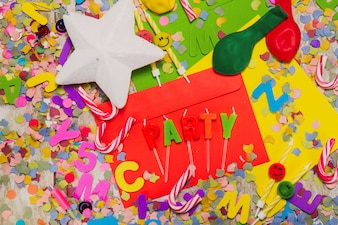 Party decoration with candy canes, stars and balloons