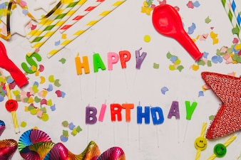 Party decoration with the words  happy birthday