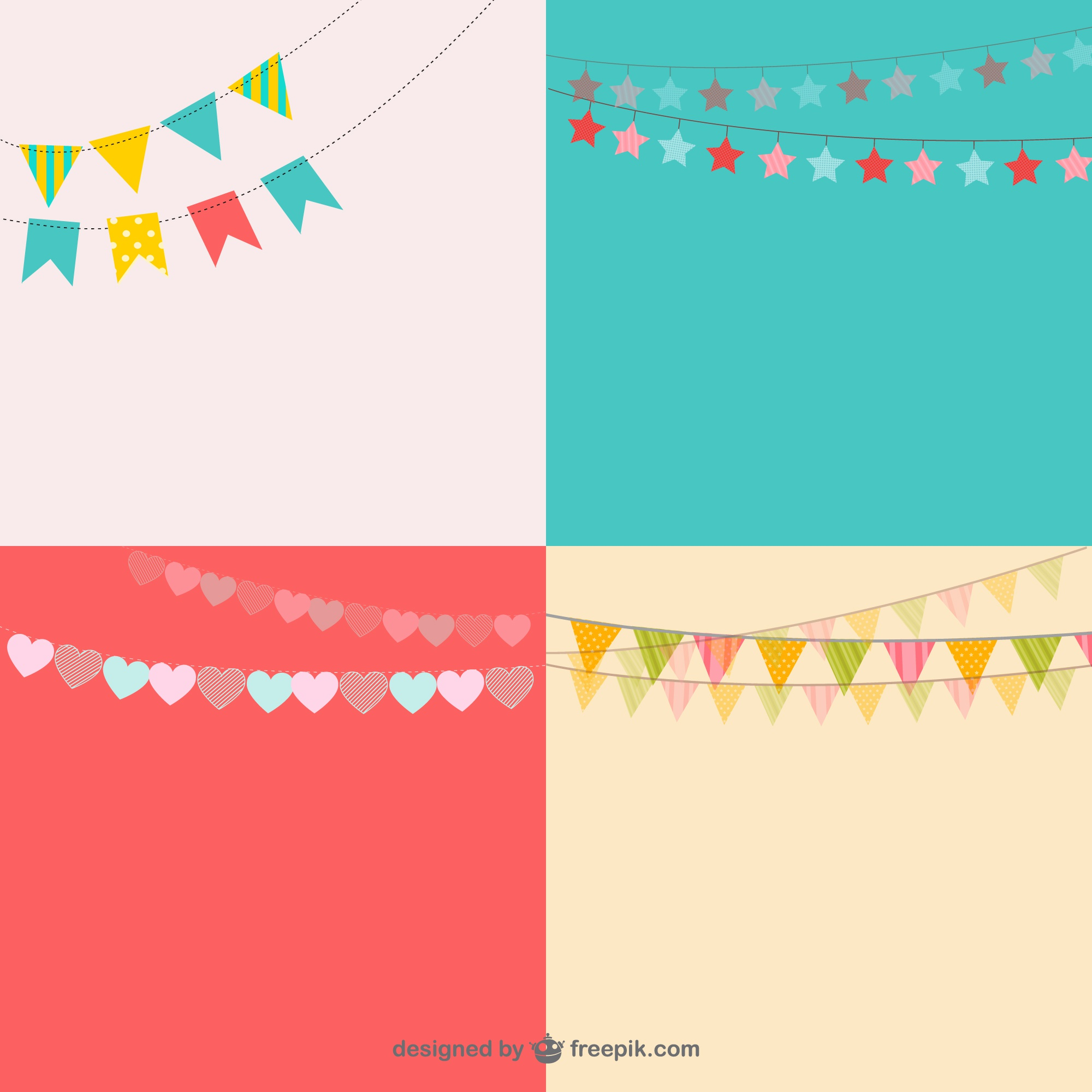 Party garlands vector pack