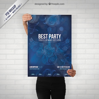 Party poster mockup with a guitar