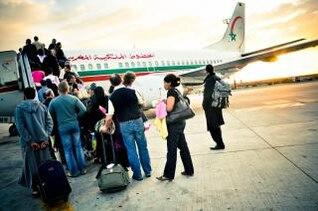 passenger boarding plane