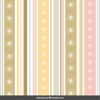 Pastels striped pattern with flowers