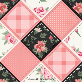 Patchwork fabric in floral style
