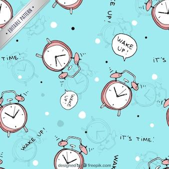 Pattern with alarm clocks