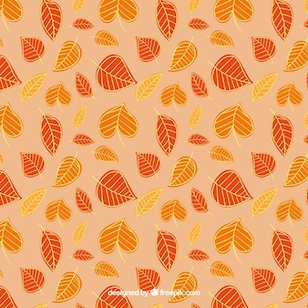 Pattern with autumnal leaves